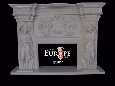 Incredible Hand Carved Solid Marble Cherub Fireplace Mantel - Zi9