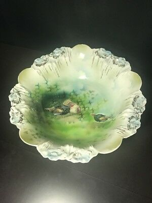 RS Prussia 3 Turkeys And Evergreens Large Bowl Red Mark!! **PRICE REDUCED**