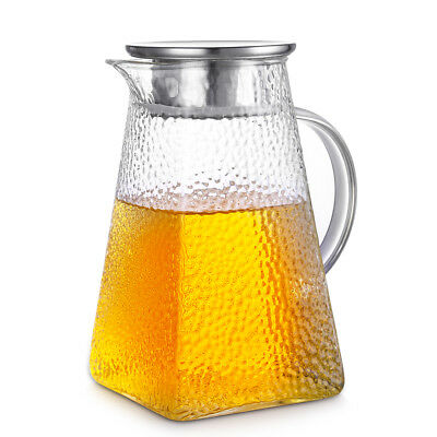 Jug Lead-free Glass Pitcher with Matching Glass Cup 41 Oz Water Carafe with Lid