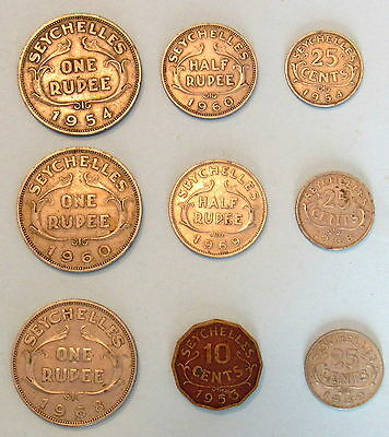 9 Seychelles coins pre-independence one Rupee half Rupee 10 cents 25 cents