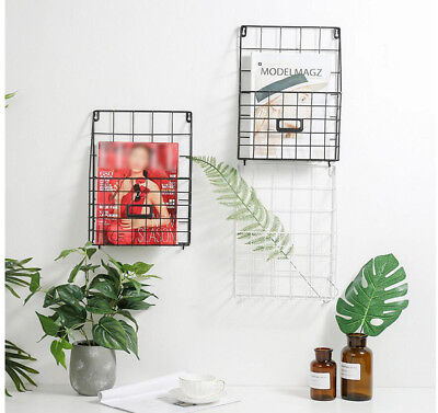 NEW Metal Wire Magazine Letter Newspaper Holder Wall Rack Industrial Style