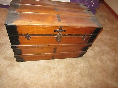 Un-Restored Antique Wood Steamer Trunk with Leather Straps