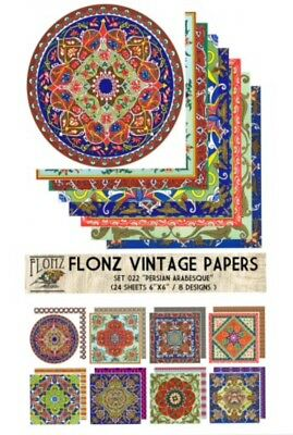 """FLONZ 6""""x6"""" card making double sided paper packs 24 sheets PERSIAN ARABESQUE"""