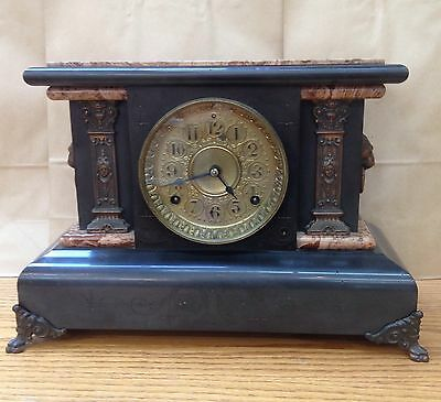 ANTIQUE SETH THOMAS Clock BRASS FACE WOOD CASE MANTEL CLOCK Beautiful Works