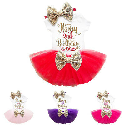 Baby Girl 2nd Birthday Cake Smash Outfits Gold Bow Tutu Kids Party Clothing Sets