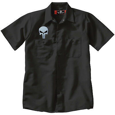 PUNISHER Skull Button Up Mechanic type Embroider Work SHIRT