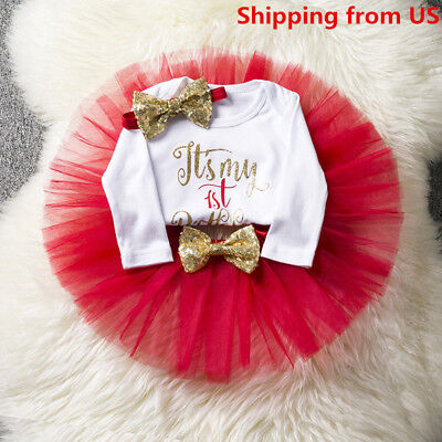 Kids Baby Girl 1st First Birthday Dress One Year Clothing Set Tutu Cake Outfits