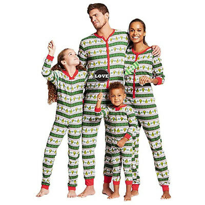 Family Matching Christmas Pajamas Set Kid Adult PJS Sleepwear Nightwear Bodysuit