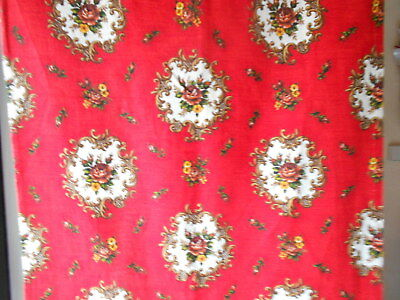 """Vintage FRENCH COTTON RED FLORAL PIECE 80"""" L"""