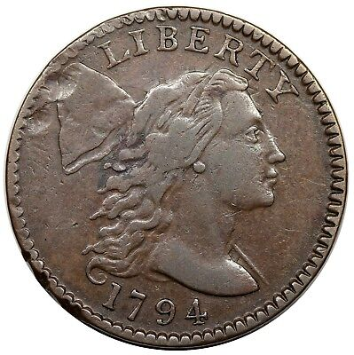 1794 Liberty Cap Large Cent, Head of '95, S-67, R.3, VF-XF detail