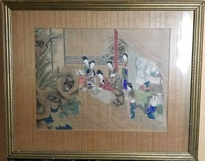 Antique Chinese Rice Paper Painting in Frame