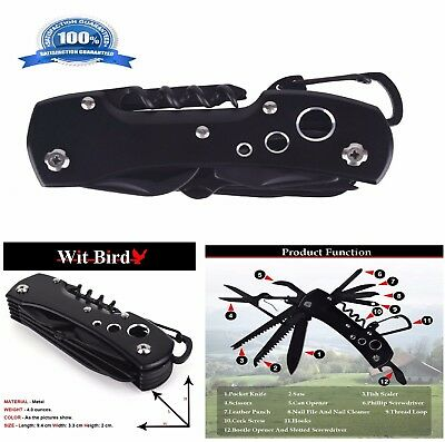 12in1 Knife Swiss Army Style Folding Portable Multi Tool Function Pocket Black