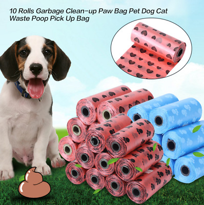 10Rolls Pet Poo Poop Bag Dog Cat Waste Garbage Pick Up Clean Refill Garbage Bags