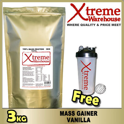 3kg MASS GAINER PROTEIN POWDER - VANILLA - WHEY ISOLATE & CONCENTRATE WEIGHT