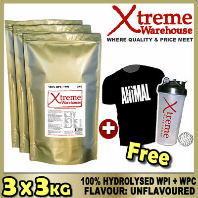 9Kg Hydrolysed Whey Protein Isolate / Concentrate Unflavoured Powder - Wpc / Wpi