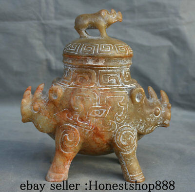 "8""China Hongshan Culture Old Jade Rhinoceros Bull Oxen Zun Incense Burner Censer"