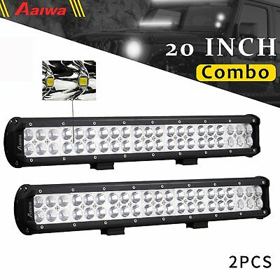 """2x 20"""" Inch 210W CREE LED Light Bar Spot Flood Combo Work Driving Off Road 4WD"""