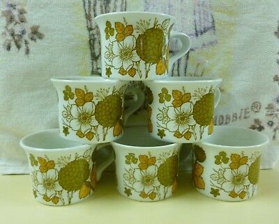 """Vtg Midwinter Stonehenge """"Countryside"""" 6 x Cups/mugs (1970's) - Made in England"""