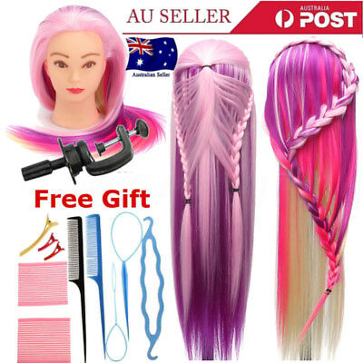 27'' Colorful Hair Training Practice Head Mannequin Hairdressing +Braid Tool Set
