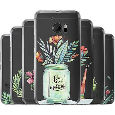 mobilefox Painted Flowers TPU Silicone Cases Thin Case Cover for HTC