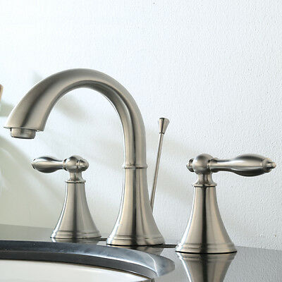 Keewi Bathroom Faucet Two Handles Solid Brass Widespread, Brushed Nickel PVD