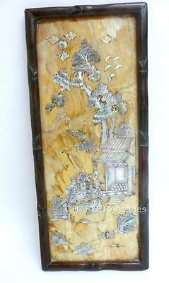 CHINESE STONE PANEL handmade Mother of Pearl Inlaid Figures Qing Period