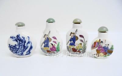 Four Antique Chinese Porcelain SNUFF BOTTLES inc. Blue & White Signed