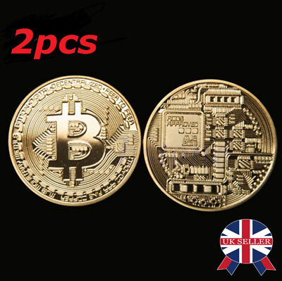 2PCS Rare Bitcoin Gift Stock Golden Iron Commemorative Coin Gifts Collectible UK