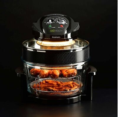 Mo Farah Health Low Fat Air Fryer 17L Halogen Cooker in Black