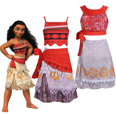 Girl Moana Cosplay Costume Princess Fancy Dress Outfit Child Kids Party Book Day