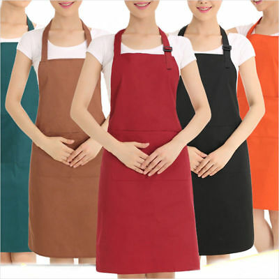 Unisex Apron Cooking Kitchen Restaurant Home Baking Bib Dress with Pocket Long