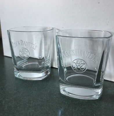 Set of 2 Brand New Jack Daniels Heavy Based Rocks Drink Glasses Raised Lettering