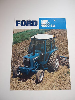 Ford 4100 & 4600 Tractor Color Brochure 8 pg. original vintage '77 MINT