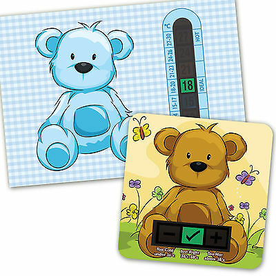 Baby Bath & Room Thermometer - Blue Beige Teddy Bear  Set