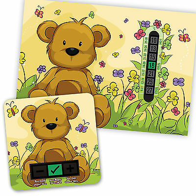 Beige Teddy Bear  A5 Room Thermometer & Beige Bear  Bath Thermometer Set