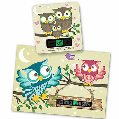 Hoot The Owl A5 Room Thermometer & Owl  Bath Thermometer Set