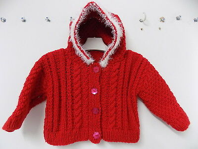 BABY BOY'S GIRLS hand knitted christmas cardigan size 9-12 months BNWOT se
