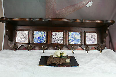 Antique XL Dutch COAT rack oak with delft tiles 18thc decorated circa 1900