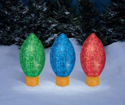 Set of 3 Large 30-inch Christmas Bulb Pathway Markers Outdoor Yard Lawn Decor US