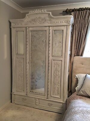 Antique Belgian Knockdown Painted Solid Wood Wardrobe