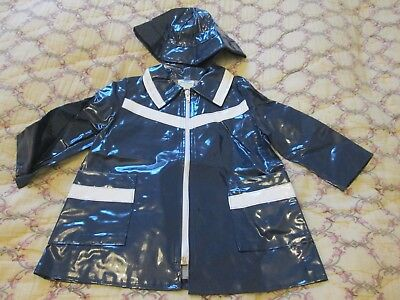 Childs NWT Retro/Vintage Dead Stock 70s French Navy PVC Coat & Hat  Age 2yrs