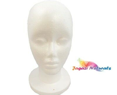 UK: Wig Making Styrofoam Mannequin Head Display Stand. Hat, glasses, Wig. Model