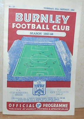 Burnley v Bristol Rovers FA Cup Replay Jan 1958 Programme