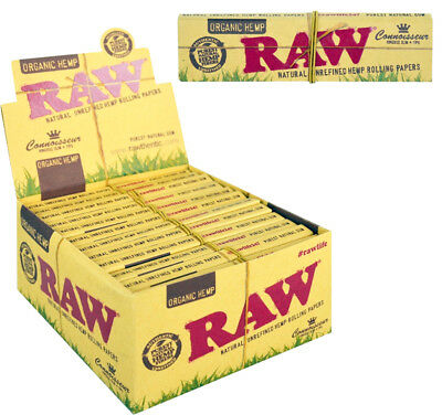 RAW Organic Hemp Connoisseur Rolling Papers With Filter Tips Roach Joint Roller