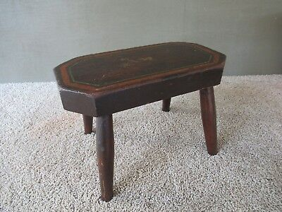 Antique Stool Bench Vintage Primitive, Four Splayed Legs, Wood, Decorated Top