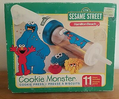 Vintage Hamilton Beach Cookie Monster Cookie Press Sesame Street 11 Discs NOS