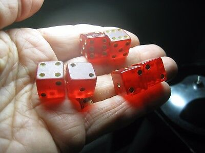 Vintage THREE (3) Pair of Crisloid RED Lucite DICE casino