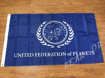 STAR TREK UNITED FEDERATION OF PLANETS FLAG 3x5FT 90x150CM TWO GROMMETS