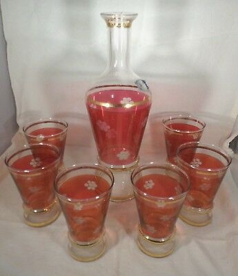 Vintage 1950s Glass Decanter & 6 Glasses Ruby & Clear Etched Flowers Gold Rings