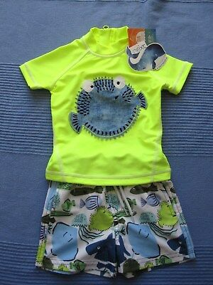 NEXT Baby Boys UV Sun Suit Puffer Fish swimming Trunks + Top 6-9 months BNWT